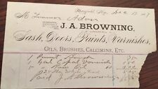 1887 J A BROWNING Mayfield KY Sash Doors Paint Varnish Letterhead Receipt