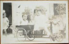 China/Chinese Girls in Cuba 1920s AZO Realphoto Postcard - Toy Wagon/Cart