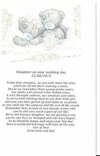 PERSONALISED WEDDING GIFT POEM DAUGHTER ON YOUR WEDDING DAY