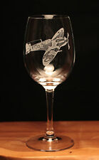 Spitfire WW2 Airforce Aeroplane Aircraft engraved Wine Glass gift present