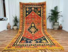 "Vintage Handmade Moroccan Carpet 5'4""x11'8 Berber Mustard rug Taznakht tribe Rug"