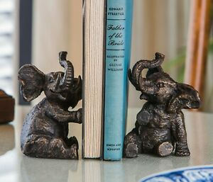 BOOKENDS - TRUMPETING ELEPHANT BOOKENDS - ELEPHANT BOOK ENDS