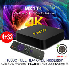 MX10 4+32G Android 8.1 Oreo Quad Core 4K Media Player Smart TV BOX WIFI DE STOCK