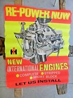 """Original 1966 International Dealership Poster 37"""" x 28 """" Showing 345 V8 Engine !"""