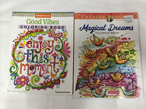 Lot of 2 Adult Coloring Books Good Vibes; Magical Dreams