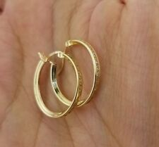 14K Solid Yellow Gold Diamond Eternity Endless Hoop Earrings Round Small 20 MM