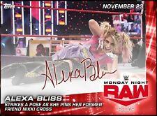 RAW RECAP NOV 23 ALEXA BLISS SIGNATURE HIT +15 CARD SET Topps WWE SLAM DIGITAL