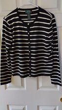 549450c5fb LAUREN by Ralph Lauren button front black   white striped cardigan Size  Petite M