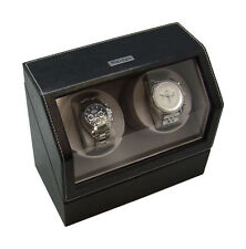 Heiden Battery Powered or A/C Dual Watch Winder - Black Leather Model HD0010