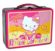 SANRIO HELLO KITTY Roller Skate Storage Metal Tin Lunch Box gift Bag Case new
