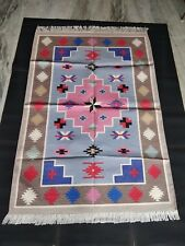 Multi Color Rainbow Design Rug Retro 4'x6' Feet Cotton Rug