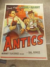 ANTICS ONE SHEET POSTER LAUREL AND HARDY ORIGINAL FROM INDIA