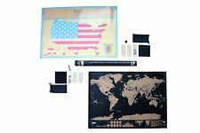 USA States Scratch Off World Map Set Poster Country US Travel Tracker Gift Best