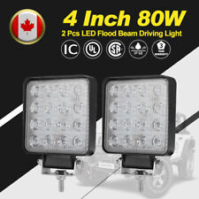 2Pcs 4 Inch 80W LED Work Light Bar Flood SUV Truck Offroad Driving Lights Square