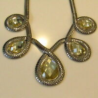 """Vintage CHUNKY Necklace Spiral Silver Tone MIRROR 21"""" BOLD Statement"""