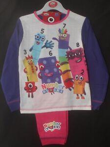 Girls NUMBERBLOCKS Pyjamas/Pink & Purple Long-Sleeve PJs Sizes 18 months-5 years