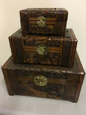 Vintage Hand Carved / Hand Made Wooden Boxes w/ Birds ~ Set Of 3 w/ Locks & Keys
