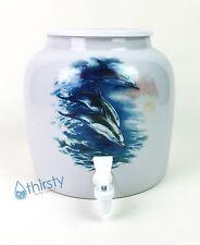 Porcelain Water Crock Ceramic Dispenser Dolphins Faucet Valve Spigot Aqua H2O