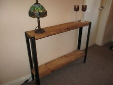 Bespoke H90 x W120 x D35 steampunk rustic industrial steel console Hall table