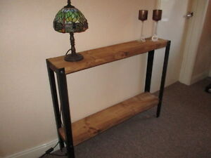 Bespoke H80 x W100 x 22cm steampunk rustic industrial steel console Hall table