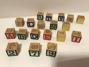 Melissa & Doug 19 Classic Wood Building Blocks w/Pictures Letters Numbers
