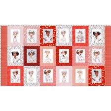 Loralie Nifty Nurses Panel Red and White Fabric 24x44 Loralie Designs