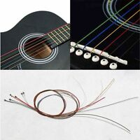 1M Guitar Strings Rainbow Colorful Color Acoustic Guitar Strings One Set 6pcs