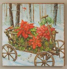 New Antique Wagon Christmas Winter Bird Bunny Poinsettia Lighted Picture