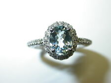 AQUAMARINE AND DIAMOND RING 1.55 ct total  14 K WHITE GOLD ENGAGEMENT RING