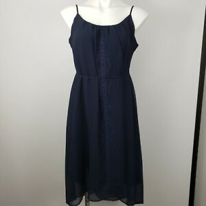A Pea in the Pod maternity Med sleeveless dress blue embroidered knee length