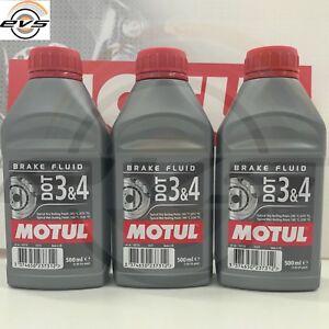 MOTUL DOT 3 4 Liquido Olio Comandi idraulici Freni Frizioni 100% Sint 3 x 500ml