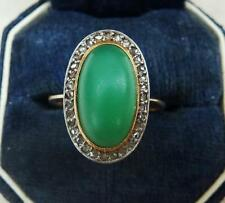 Lovely oval jade jadeite and diamond 18ct gold art deco ring