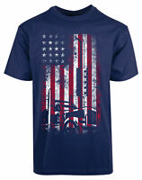 American Flag Truck New Mens Shirt Tractor Automotive Stylish Elegant Casual Tee