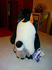 """Plush EMPEROR PENGUIN & Baby Chick 13""""  A Fiesta Toy 2000 NWT"""