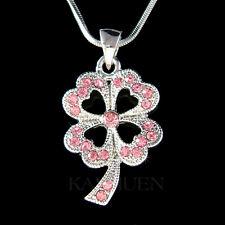 w Swarovski Crystal Pink 4 Leaf Clover Shamrock Irish St Patricks Chain Necklace