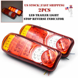 1Pair 12V LED Trailer Light Stop Reverse Indicator Fog Lamp Truck Boat Universal