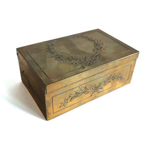 Antique Acid Etched Brass Table Box with Berried Laurel Wreath & Swags, 20th C.
