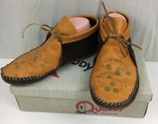 Vintage Quoddy Mocs Leather Moccasins Womens 8 Shoes Hand Tooled Brown & Box
