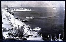 1940s MEXICO Real Photo PC, Animated Malecon de Acapulco w/Ships & Boats