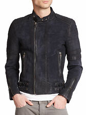DIESEL BLACK GOLD LAXONY NAVY LEATHER JACKET SIZE 52 (XL) 100% AUTHENTIC