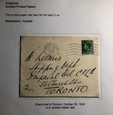 1936 Ilfracombe England Cover To Toronto Canada