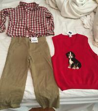 3 pc Janie & Jack Red DOG Vest, Check Shirt & Khaki Tan Pants size 4 -- NWT