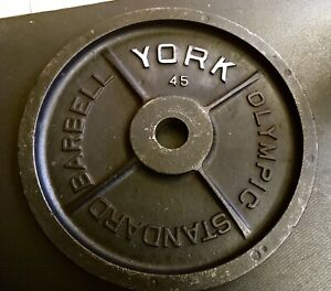 York Barbell 45 LB Olympic Weight Plate Single Vintage Milled