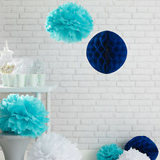 9er Set Pompoms Papier Wabenball Türkis Weiß Blau Dekoration Honeycomb Party