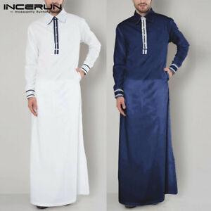 Mens Long Sleeve Muslim Abaya Arab Saudi Jubba Kaftan Full Length Thobe Robe Top