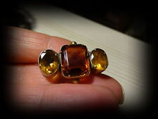 3 Stone Pin Brooch Antique Victorian Yellow Metal Citrine