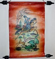 Vintage Persian Handpainted Painting Lambskin Leather Signed Scroll Deer Hunter