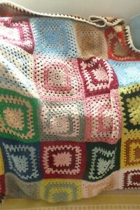 Handmade vintage retro crochet squares granny blanket sofa bench throw campervan