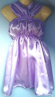 Lilac satin dress adult baby fancy dress sissy french maid cosplay fits 36-46