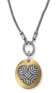 NEW Brighton Anatolia Heart Reversible Long Necklace Gold Silver Crystal Heart